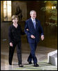 President George W. Bush and Mrs. Laura Bush arrive at the Dinner with G-8 Leaders and Spouses Monday, July 7, 2008, at the Windsor Hotel Toya Resort and Spa in Toyako, Japan. White House photo by Eric Draper