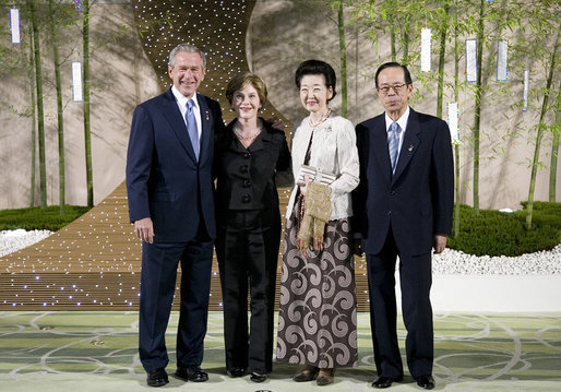 President George W. Bush and Mrs. Laura Bush stand with Japan's Prime Minister Yasuo Fukuda and Mrs. Kiyoko Fukuda in the Banquet Lobby of the Windsor Hotel Toya Resort and Spa Monday, July 7, 2008, in Toyako, Japan, prior to the Dinner with G-8 Leaders and Spouses. White House photo by Eric Draper