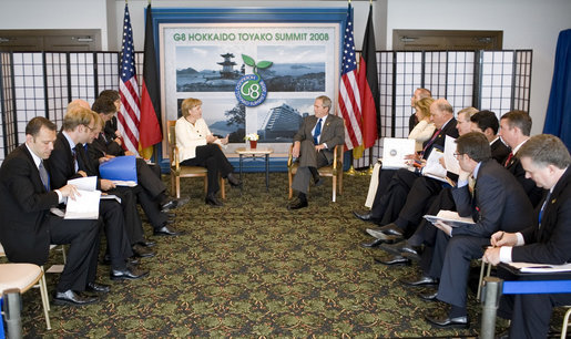 "President George W. Bush and Chancellor Angela Merkel of Germany, meet Tuesday, July 8, 2008, at the Windsor Hotel Toya Resort and Spa in Toyako, Japan. Calling Chancellor Merkel a ""constructive force for good,"" President Bush told his fellow leader, ""I value your friendship. I value your advice."" White House photo by Eric Draper"