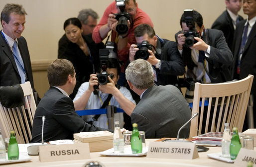 President George W. Bush and President Dmitriy Medvedev are the center of focus Tuesday, July 8, 2008, prior to the start of the morning's G-8 Working Session in Toyako, Japan. White House photo by Eric Draper