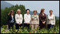 With Mt. Yoteizan as a backdrop, the G-8 Spouses pause Tuesday, July 8, 2008, for their family photo in the village of Makkari on the northern Japanese island of Hokkaido. White House photo by Shealah Craighead