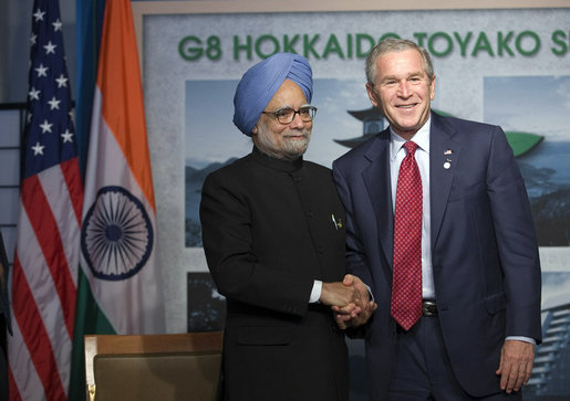 President George W. Bush shakes hands with Indian Prime Minister Manmohan Singh following a meeting at the G-8 Summit Wednesday, July 9, 2008, in Toyako, Japan. White House photo by Eric Draper