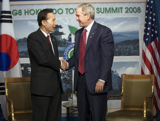President George W. Bush shakes hands with Republic of Korea President Lee Myung-bak following their meeting at the G-8 Summit Wednesday, July 9, 2008, in Toyako, Japan. White House photo by Eric Draper