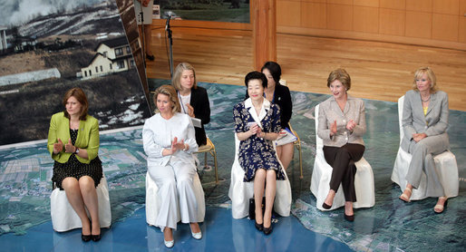 Mrs. Bush participates in a discussion with Junior 8 (J8) members and other G-8 spouses during her visit to the Toyako Town Visitors Center Wednesday, July 9, 2008, in Hokkaido, Japan. Mrs. Bush is joined by from left, Mrs. Sarah Brown, spouse of the Prime Minister of the United Kingdom, Mrs. Svetlana Medvedev, spouse of the President of Russia, Mrs. Kiyoko Fukuda, spouse of the Prime Minister of Japan, and Mrs. Laureen Harper, spouse of the Prime Minister of Canada. White House photo by Shealah Craighead