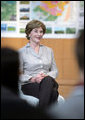 Mrs. Laura Bush participates in a discussion with Junior 8 (J8) members during her visit to the Lake Toya Visitors Center Wednesday, July 9, 2008, in Hokkaido, Japan. White House photo by Shealah Craighead