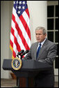 President George W. Bush addresses reporters Wednesday, July 9, 2007 in the Rose Garden at the White House, to thank Democratic and Republican members of Congress, and administration members, for their hard work in gaining passage of the FISA Reform legislation. White House photo by Luke Sharrett