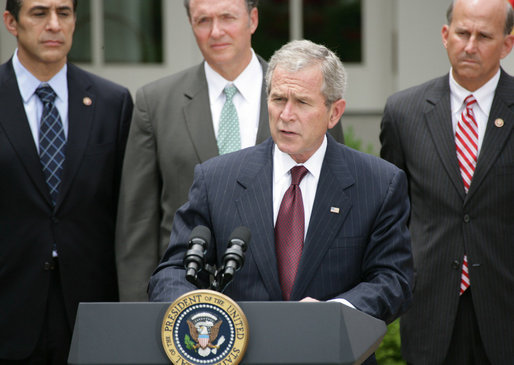 President George W. Bush delivers remarks prior to signing the FISA Amendments Act of 2008 Thursday, July 10, 2008, in the Rose Garden at the White House. White House photo by Chris Greenberg