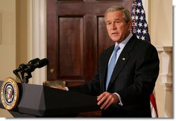 President George W. Bush addresses his remarks honoring the 10th anniversary of the International Religious Freedom Act, speaking Monday, July 14, 2007 in the Roosevelt Room at the White House. White House photo by Joyce N. Boghosian