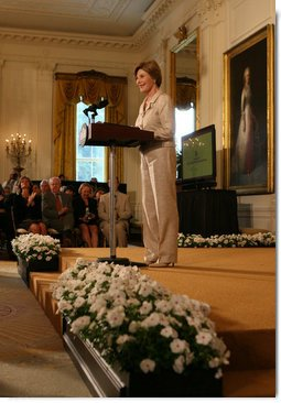 Mrs. Laura Bush welcomes attendees of the 2008 Cooper-Hewitt National Design Awards on July 14, 2008 in the White House East Room. The awards are given in various disciplines such as communications, architecture, landscape, product, interior, fashion and people's design as well as in lifetime achievement, corporate achievement, special jury commendation. They awards are a tool to increase national awareness of design by promoting excellence, innovation and lasting achievement. The award program was first launched in 2000 at the White House as an official project of the White House Millennium Council.  White House photo by Shealah Craighead