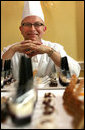 White House Executive Pastry Chef William Yosses shows off some of the unique items he created for the 2008 Cooper-Hewitt National Design Awards on July 14, 2008 at the White House. White House photo by Shealah Craighead