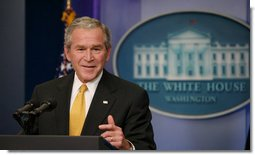 President George W. Bush gestures as he speaks with reporters during a news conference Tuesday, July 15, 2008, in the James S. Brady Press Briefing Room of the White House.  White House photo by Joyce N. Boghosian