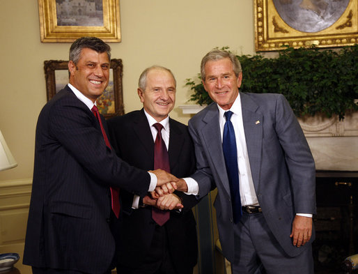 President George W. Bush shakes hands with Kosovo President Fatmir Sejdiu, center, and Kosovo Prime Minister Hashim Thaci, left, during a meeting Monday, July 21, 2008, in the Oval Office of the White House. White House photo by Eric Draper
