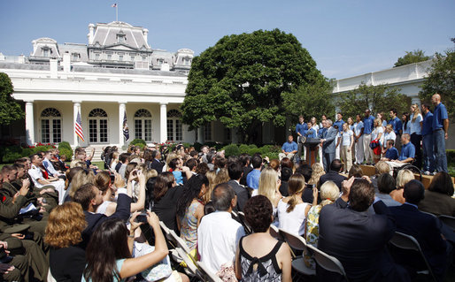 President George W. Bush delivers remarks to the members of the 2008 United States Summer Olympic Team Monday, July 21, 2008, in the Rose Garden of the White House. White House photo by Eric Draper
