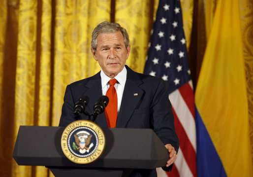 President George W. Bush delivers remarks during the celebration of Colombian Independence Day Tuesday, July 22, 2008, in the East Room of the White House. White House photo by Eric Draper