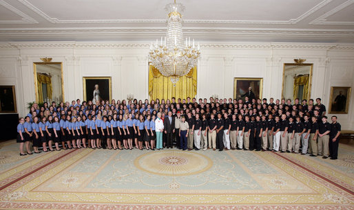 President George W. Bush poses for a photo with the 2008 Boys and Girls Nation delegates Wednesday, July 23, 2008, in the East Room of the White House. The Boys and Girls Nation, sponsored by the American Legion, meet annually in Washington, D.C. to gain practical insight into the operation of the Federal Government. White House photo by Chris Greenberg