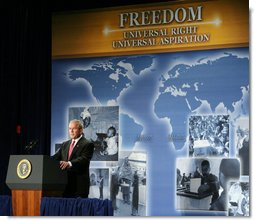 President George W. Bush delivers remarks on the Freedom Agenda Thursday, July 24, 2008, in Washington, D.C.  White House photo by Chris Greenberg