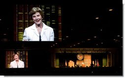 Mrs. Laura Bush addresses 5,400 participants on Monday, July 28, 2008 at the Fifth Annual Reading First National Conference at the Gaylord Opryland Resort & Convention Center in Nashville, Tenn.  White House photo by Shealah Craighead