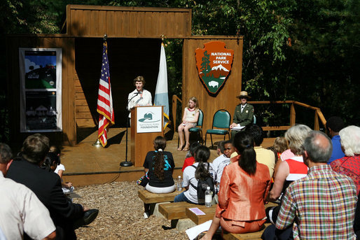 Mrs. Laura Bush addresses her remarks Monday, July 28, 2008, during a visit to the Carl Sandburg Home National Historic Site in Flat Rock, N.C., announcing a $50,000 grant to benefit the Junior Ranger program at the historic site. White House photo by Shealah Craighead