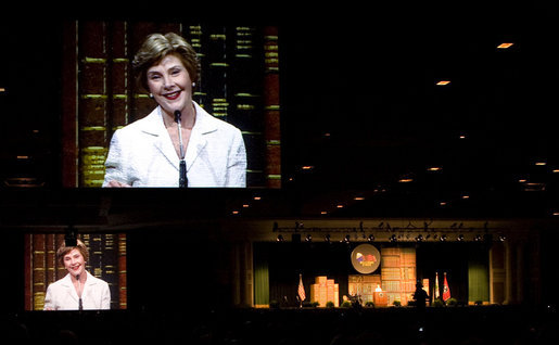 As Mrs. Laura Bush gives her remarks from the stage, giant video screens project her image for the 5,400 participants to see at Monday's Fifth Annual Reading First National Conference. The gathering was at the Gaylord Opryland Resort and Convention Center in Nashville, Tenn., on July 28, 2008. White House photo by Shealah Craighead