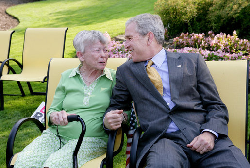 President George W. Bush wishes Ruth Harris a happy 91st birthday Tuesday, July 29, 2008, after making a surprise stop at her Gates Mill, Ohio, home. President Bush was in nearby Euclid, Ohio, for a visit to the Lincoln Electric Company. White House photo by Chris Greenberg
