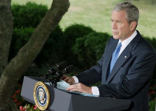 President George W. Bush addresses his remarks on Iraq to reporters Thursday morning, July 31, 2008 on the Colonnade at the White House. President Bush said it has been a month of encouraging news from Iraq, with violence down to its lowest level since the spring of 2004. White House photo by Eric Draper