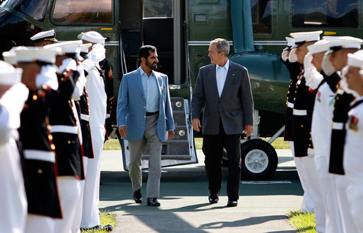 President George W. Bush welcomes Sheikh Mohammed bin Rashid al-Maktoum, Prime Minister of the United Arab Emirates and ruler of Dubai, Sunday, Aug. 3, 2008 in Camp David. White House photo by Eric Draper