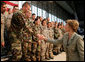 Mrs. Laura Bush shakes hands with military personnel Monday, Aug. 4, 2008, following remarks by President George W. Bush during their stop at Eielson Air Force Base, Alaska. White House photo by Shealah Craighead
