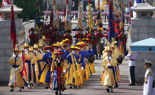 Ceremonial dancers arrive at the Blue House, the residence of President Myung-bak Lee of the Republic of Korea, for the arrival ceremonies Wednesday, Aug. 6, 2008, in Seoul for President George W. Bush and Mrs. Laura Bush. White House photo by Chris Greenberg