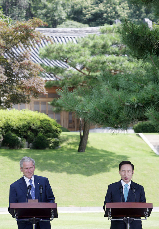President George W. Bush and South Korean President Lee Myung-bak speak with reporters at a joint news conference Wednesday, Aug. 6, 2008, at the Blue House presidential residence in Seoul, South Korea. White House photo by Chris Greenberg