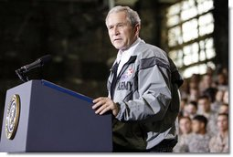 President George W. Bush delivers his remarks to U.S. Army military personnel stationed at the U.S. Army Garrison-Yongsan Wednesday, August 6, 2008, in Seoul, South Korea.  White House photo by Eric Draper
