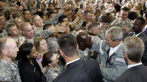 President George W. Bush greets military personnel during his visit to the U.S. Army Garrison-Yongsan Wednesday, August 6, 2008, in Seoul, South Korea. White House photo by Eric Draper
