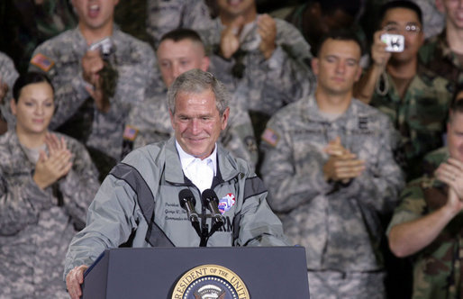 President George W. Bush is applauded as he delivers his remarks to U.S. Army military personnel stationed at the U.S. Army Garrison-Yongsan Wednesday, August 6, 2008, in Seoul, South Korea. Chris Greenberg White House photo by Chris Greenberg