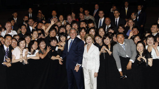 President George W. Bush and Mrs. Laura Bush pose for a photo during their visit with United States Embassy personnel and family members Wednesday, Aug. 6, 2008, in Seoul. White House photo by Eric Draper