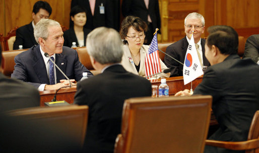 President George W. Bush talks with Lee Myung-bak, President of South Korea, during their meeting Wednesday, Aug. 6, 2008, at the Blue House in Seoul. White House photo by Eric Draper