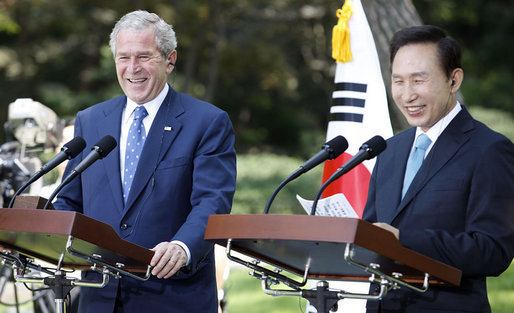 President George W. Bush laughs with South Korean President Lee Myung-bak during a press availability Wednesday, Aug. 6, 2008, at the Blue House in Seoul. White House photo by Eric Draper