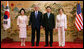 President George W. Bush and Mrs. Laura Bush are seen with South Korean President Lee Myung-bak and first lady Kim Yoon-ok during arrival ceremonies Wednesday, Aug. 6, 2008, at the Blue House presidential residence in Seoul. White House photo by Chris Greenberg