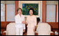 Mrs. Laura Bush meets with Mrs. Kim Yoon-ok, wife of the President of the Republic of Korea, during a coffee in Seoul on Aug. 6, 2008. White House photo by Shealah Craighead