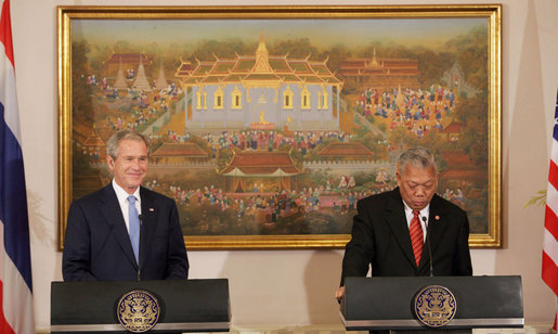 President George W. Bush and Prime Minister Samak Sundaravej of Thailand are seen at their joint statement Wednesday, Aug. 6, 2008, at the Government House in Bangkok. White House photo by Chris Greenberg