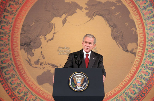 President George W. Bush delivers remarks at the Queen Sirikit National Convention Center Thursday, August 7, 2008, in Bangkok. White House photo by Chris Greenberg