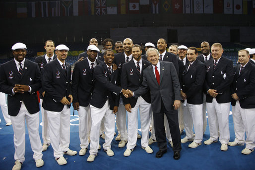 President George W. Bush meets with members of the U.S. Olympic Basketball Team Friday evening, Aug. 8, 2008 at the National Stadium in Beijing, prior to the U.S. Olympians marching in the Opening Ceremonies at the 2008 Summer Olympics. White House photo by Eric Draper
