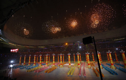 Fireworks explode above the National Stadium as artists perform Friday evening, Aug. 8, 2008 in Beijing, during the Opening Ceremonies of the 2008 Summer Olympics. White House photo by Eric Draper