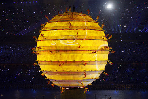 Performers dance on the surface of an illuminated sphere in the middle of National Stadium Friday, Aug. 8, 2008, during the Opening Ceremonies of the 2008 Summer Olympic Games in Beijing. White House photo by Eric Draper