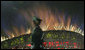 Fireworks explode over China's National Stadium in Beijing Friday night, Aug. 8, 2008, during the finale of the Opening Ceremonies for the 2008 Summer Olympics. White House photo by Chris Greenberg