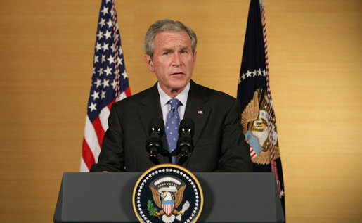 President George W. Bush addresses remarks Saturday, Aug.9, 2008 in Beijing, on the military conflict between Russia and Georgia. President Bush said he is concerned that the violence will endanger regional peace, and that the United States is working with European partners to lanuch international mediation. White House photo by Chris Greenberg