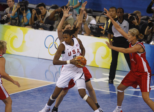The U.S. Women's Olympic Basketball Team is seen in action in a preliminary match Saturday, Aug. 9, 2008, against the Czech Republic team at the Beijing 2008 Summer Olympics Games, which was attended by President George W. Bush and family members. White House photo by Eric Draper