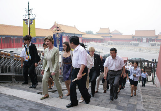 Mrs. Laura Bush and daughter Barbara arrive at the Forbidden City in Beijing Friday, Aug. 9, 2008. White House photo by Shealah Craighead