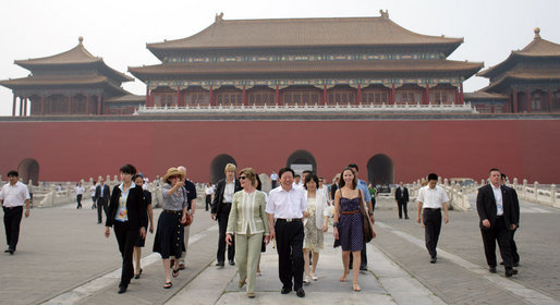 Mrs. Laura Bush and daughter Barbara Bush tour the Forbidden City Friday, Aug. 9, 2008, during their visit to Beijing. Leading the tour is Mr. Sun Jiazheng, Vice Chairman, China People's Political Consultative Congress. Mrs. Sarah Randt, spouse of Sandy Randt, U.S. Ambassador to the People's Republic of China, is second from left in hat. White House photo by Shealah Craighead