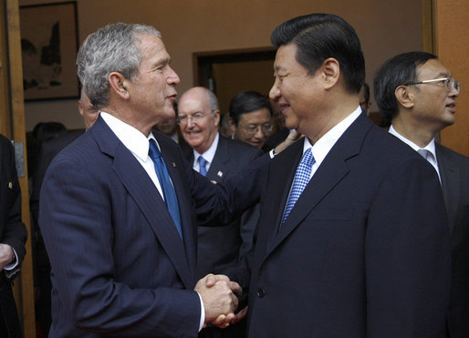 President George W. Bush is greeted by Chinese Vice President Xi Jinping Sunday, Aug. 10, 2008, during his visit to Zhongnanhai, the Chinese leaders compound in Beijing. White House photo by Eric Draper