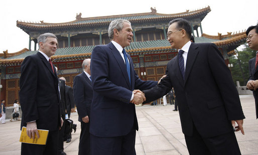 President George W. Bush is greeted by Chinese Premier Wen Jiabao Sunday, Aug. 10, 2008, at Zhongnanhai, the Chinese leaders compound in Beijing. White House photo by Eric Draper