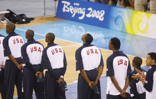 Members of the U.S. Men's Olympic Basketball Team line up on the court during pre-game ceremonies Sunday, Aug. 10, 2008, before playing China at the 2008 Summer Olympic Games in Beijing. White House photo by Eric Draper